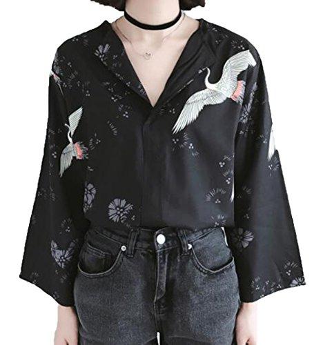 [グードコ] 着物 和風 レディース カーディガン トップス tシャツ プリント 鶴柄 Vネック 夏 ゆったり 羽織 九分袖 カットソー 薄手 カジュアル 日式风