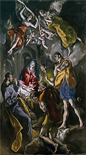 Oil Painting 'El Greco Adoration Of The Shepherds 1612 14 ' Printing On High Quality Polyster Canvas , 20 X 36 Inch / 51 X 92 Cm ,the Best Garage Gallery Art And Home Decor And Gifts Is This Reproductions Art Decorative Prints On Canvas Hood Liner Acrylic