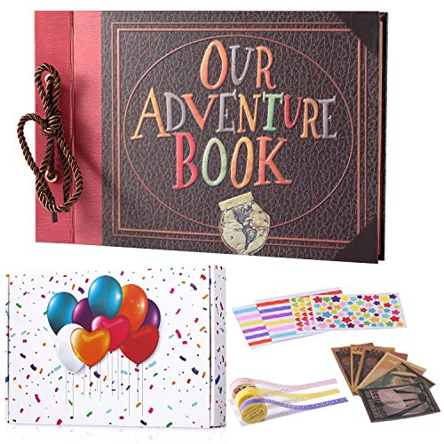 (TEOYALL Our Adventure Book Scrapbook Photo Album DIY Family Anniversary Scrapbook Wonderful Gift for Birthday Wedding Thanksgiving Day Christmas (Adventure#1))