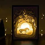 Papercut Light boxes, Decorative Led Lighting Lamp, Relaxing Mood Light for Kids and Adults, Night Projection Lamp for Baby Nursery Bedroom Children Room and Christmas Gift (Unicorn)
