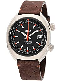 Chronoris Black Dial Leather Strap Mens Watch 73377374054LSBRN
