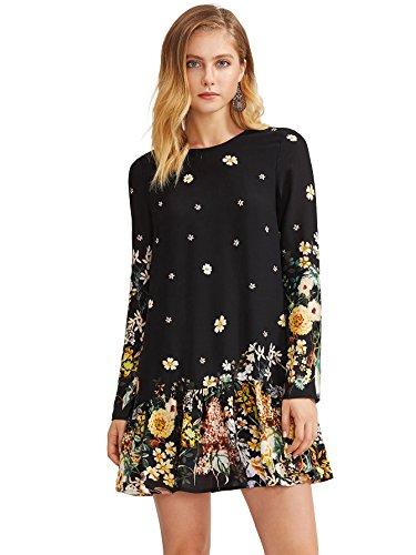 Floerns Women's Floral Print Long Sleeve Drop Waist Dress Black L
