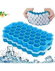 Ice Cube Trays met deksels, 2-pack 74 ijsblokjes Silica Gel Flexibel, ijsblokjesvormen voor gekoelde dranken, Whiskey & Cocktails