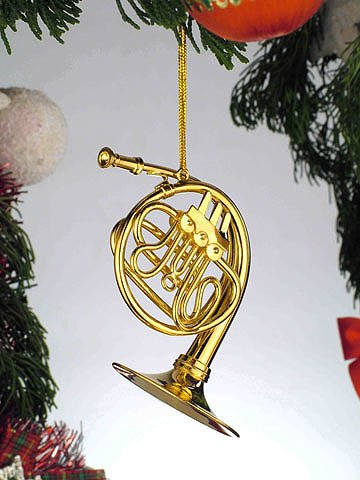 Musical Instrument Ornaments - Gold Music French Horn Musical Instrument Ornament NEW