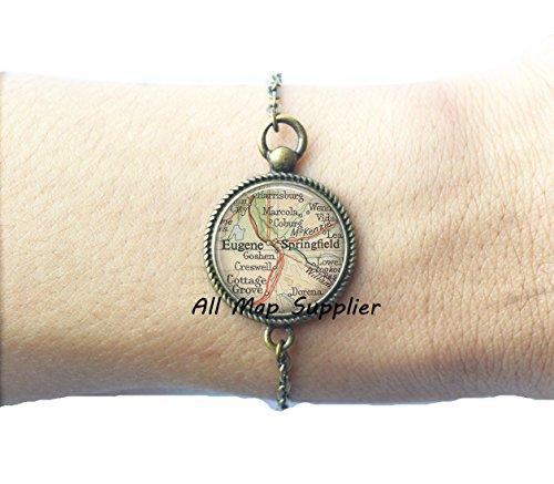 Charming Bracelet,Eugene, Oregon map Bracelets, Eugene map Bracelets, Springfield, Oregon map - Oregon Stores Eugene