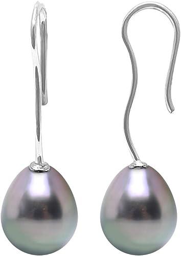 BELLE PERLE BAROQUE Boucles d/'oreilles Rectangle Shape Blanc eau douce Perle Boucles d/'oreilles