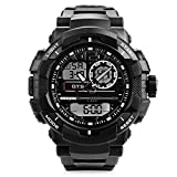 Men's Digital Analog Sports Military Stylish Watches Waterproof Outdoor Electronic LED Backlight Display Alarm Stopwatch - Black