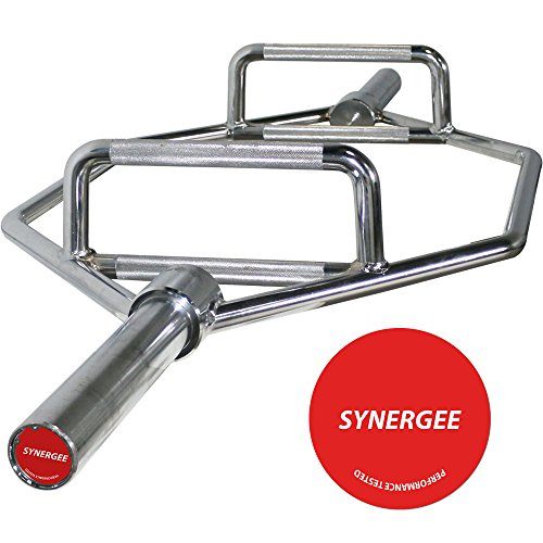 "Synergee 25kg Chrome Olympic Hex Barbell with Two Handle for Squats, Deadlifts, Shrugs and Power Pulls. 56"" Long Bar with 10"" Sleeve. by iheartsynergee"