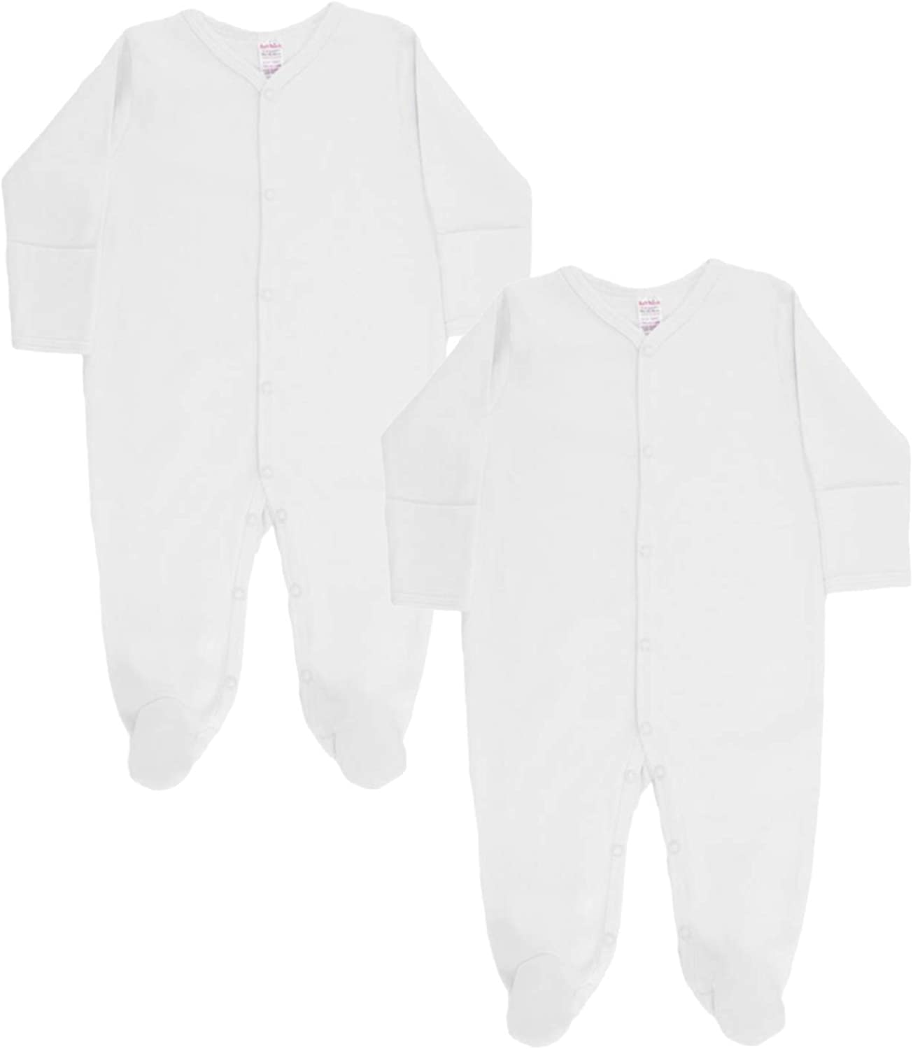 Popper Fastening Baby Sleepsuits 2 Pack UK Brand Long Sleeved Cotton Babygrows