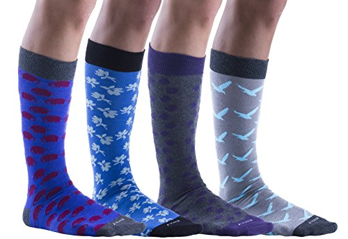 Mens Big Tall Socks, King Size Dress Socks For Wide Large Feet, 13-16, Colorful, Cotton
