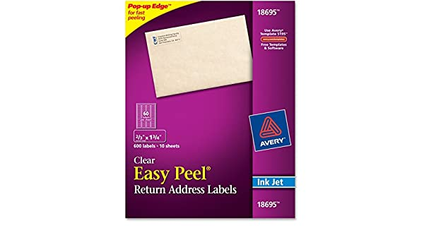 Amazon Avery 18695 23inchx1 34inch Clear Easy Peel Mailing