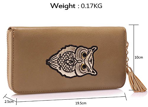 Coin 2 Luxury Zipped Print Holder Purses Large Card Owl Women Animal Design Wallet Ladies For Taupe XS8Oq