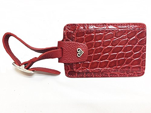 Brighton B Wishes Red Croco-Embossed Leather Luggage Tag ()