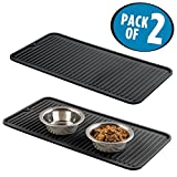 mDesign Premium Quality Pet Food and Water Bowl Feeding Mat for Cats and Kittens - Waterproof Non-Slip Durable Silicone Placemat - Food Safe, Non-Toxic - Pack of 2, Black