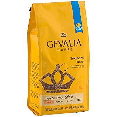 GEVALIA Traditional Roast Coffee, Mild, Whole Bean, 12 Ounce, 6 Pack