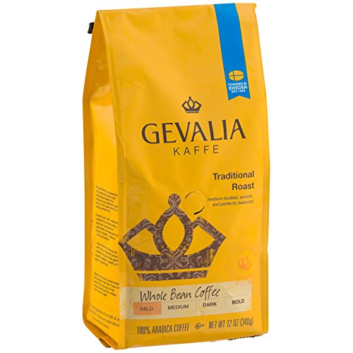 GEVALIA Traditional Roast Coffee, Mild, Whole Bean, 12 Ounce, 6 Pack ()