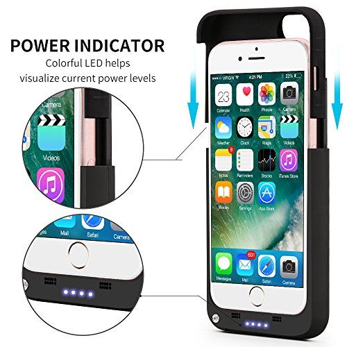 IPhone7 Battery CasePatea mobile iPhone7 Charger Case3200mAhUltra minimal Scrub Li PolymerIphone7 electrica condition Cover Pack Back Up having remain 47 inch for iphone 7 6 6s berries juice bank electrica bankBlack Charger Cases