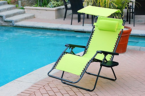Jeco Set of 2 Oversized Zero Gravity Chairs with Sunshade - Lime Green