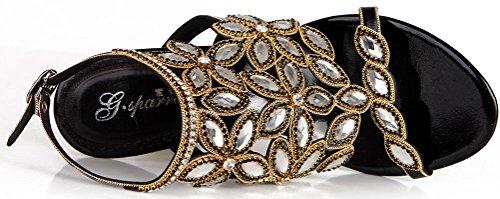 Stilettos bonito L035 fiesta para Salabobo Bridemaid Rhinestone st sandalias trabajo hermoso novia negro vestido tacones deslumbrante de novia ocio zapatos mujer de atractivos rendimiento trabajo 7ww5vdCxUq