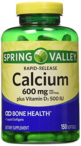- Spring Valley - Calcium, Liquid Filled Absorbable, 150 Softgels, 600mg Plus Vitamin D3