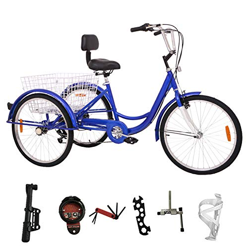 H&ZT Adult Tricycle Trike 3 Wheeled Cruiser Bike with Large Basket and Maintenance Tools, 24 Inch Wheel Size Bike Trike, Men's Women's Cruiser Bike