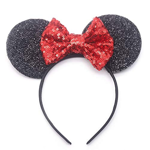 Missgrace Baby Girl Gold Sequin Bow Headband for Party and Festival Glitter headband Glitter Fabric Bow Flower Girls and Baby Girls Hair Accessories (Red)]()