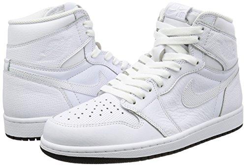 Nike Heren Air Jordan 1 Mid Basketbalschoen Wit / Zwart / Wit