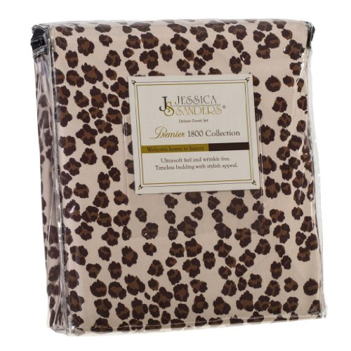 Authentic Jessica Sanders 1800 Series 3pc Duvet Cover Set - King Size, Queen size Leopard,cream (Sheets Leopard Cream)