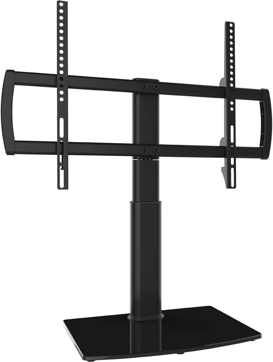 Universal Swivel TV Stand Base Table Top TV Stand 32 to 60 inch TVs 80 Degree Swivel, 4 Level Height Adjustable, Heavy Duty Tempered Glass Base, Holds up to 88lbs Screens, HT04B-002U Renewed