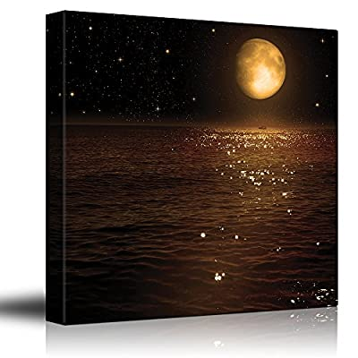 Gold Moon and Bright Stars Illuminating The Ocean at Night - Canvas Art Home Art - 16x16 inches