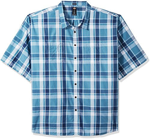 Dickies Men's Yarn Dyed Plaid Short Sleeve Shirt 6X Big-Tall, Tonal Blue, 6T ()