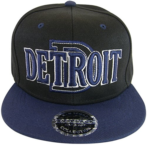 Detroit D Wave Style Men's Adjustable Snapback Baseball Caps (Black/Navy)