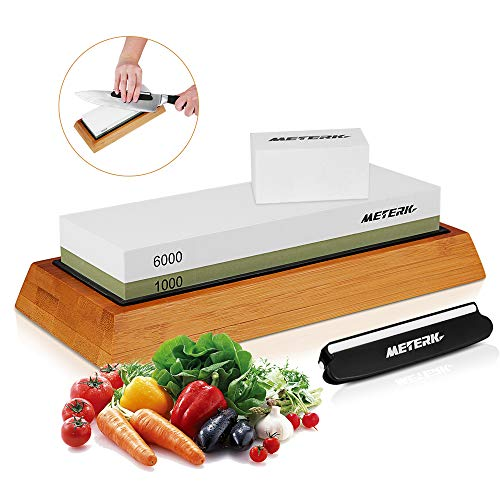 Knife Sharpening Stone Set, Meterk Whetstone 1000 6000 Side Grit Knife Sharpener with Non Slip Bamboo Base & Angle Guide & Flattening Stone, Wet Stone Sharpening Kit for Kitchen