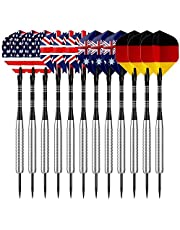 Sametop 12 Packs Steel Tip Darts Set 22 Grams with Flights, Aluminum Shafts, Nickel Silver Barrels and Dart Sharpener