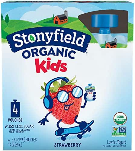 Stonyfield Organic Kids Strawberry Lowfat Yogurt 4 - 3.5 oz. Pouches