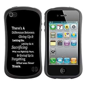 "Pulsar iFace Series Tpu silicona Carcasa Funda Case para Apple iPhone 4 / iPhone 4S , Inspiring Negro Mensaje Texto blanco inteligente"""