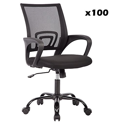 Mid Back Mesh Ergonomic Computer Desk Office Chair (100 Pack)