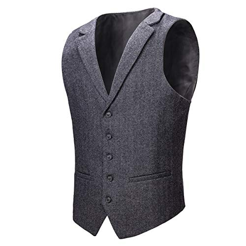 VOBOOM Mens Herringbone Tailored Collar Waistcoat Fullback Wool Tweed Suit Vest (Dark Grey, M)