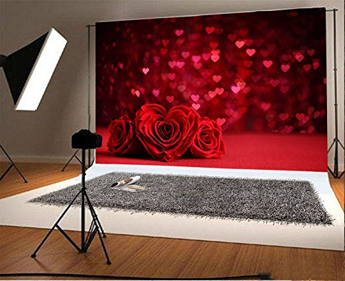 Laeacco 7x5ft Vinyl Photography Backdrop Valentine's Day Romantic Rose Bouquet and Red Hearts Background Photo Background Girls Woman Lovers Bride Party Anniversary Portraits -