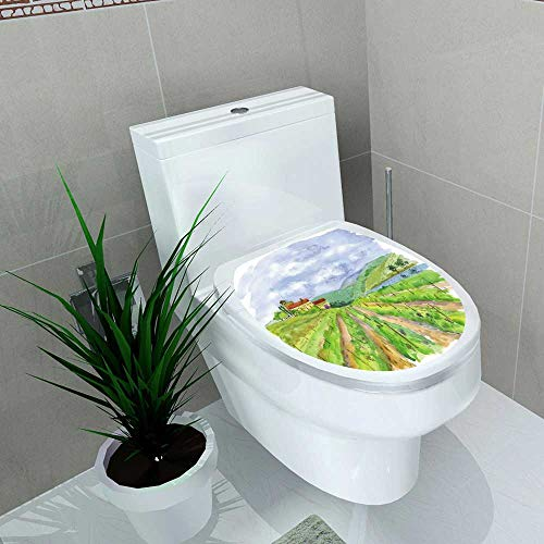 Auraise-home Toilet Seat Decal Vinyl Vineyard Decal Sticker for Toilet Decoration W13 x L16 ()