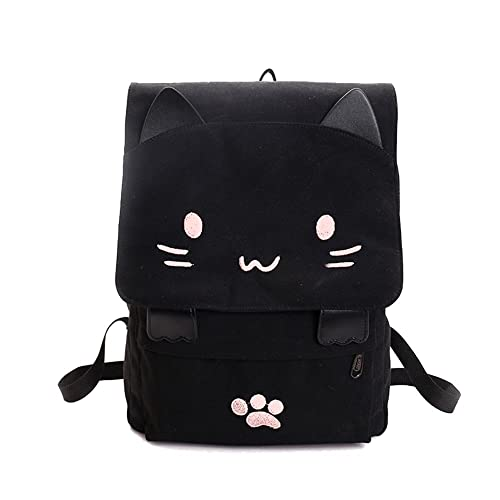 98ab7a10e DanSoul Fashion Backpacks for Teen College Students Cute Kitty Knapsack Purse  Women Travel Canvas Causal Bag