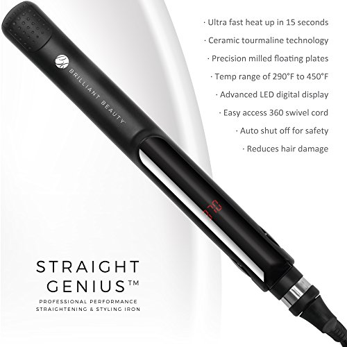 STRAIGHT GENIUS Ceramic Ionic Tourmaline Flat Iron with Heat Resistant Mat, Hair Clips Travel Bag – 1 Inch Straightening and Curling Iron by Brilliant Beauty – Professional Straightener