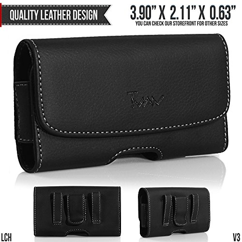LG AX380 Belt Pouch, TMAN [Leather Horizontal] Metal Clip Holster / Magnetic Closure Case, Cover with Belt Loop Carrying Protective - Fits Cellphone without any Case (Phone Ax380 Lg Case)