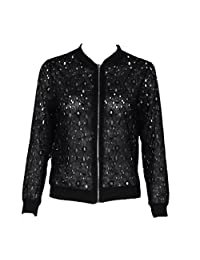 LUNIWEI Women Cotton Blend Long Sleeve Solid Hollow Lace Zipper Jacket