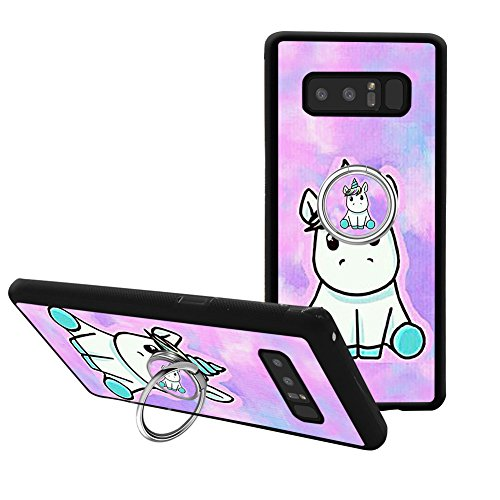 Universal Custom White Unicorn Samsung Galaxy Note 8 Phone Case Ring Holder Kickstand Rotational Heavy Duty Armor Protective Soft TPU Bumper Shell Cover for Samsung Galaxy Note 8