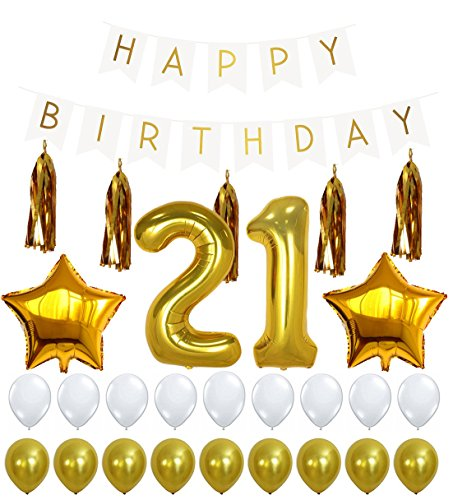 21st BIRTHDAY DECORATIONS PACKAGE - 21 Balloon, Happy Birthday White Sign Banner, Gold and White Latex Ballon, 5 Gold Tassels, Great for 12th or 21 Birthday Party Supplies Girl or Boy (21st Balloons And Banners)