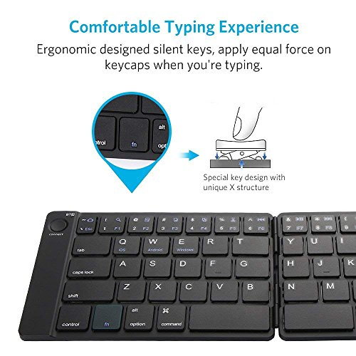 Bluetooth Keyboard, Moreslan Foldable Wireless Keyboard for Android Windows IOS Laptop Tablet Smartphone and More, Ultra-Slim Portable Pocket Sized Keyboard with Built-in Rechargeable Battery by Moreslan (Image #2)