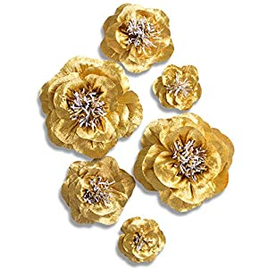 Letjolt Large Paper Flower Decorations Crepe Paper Flower Handcrafted Flowers Wall Classic Giant Flower for Wedding Backdrop Baby Shower Nursery Wall Decor(Set of 6) 4