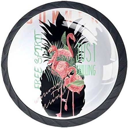 Lade handgrepen kabinetknoppen knoppen rond Pack van 4 voor kast lade borst dressoir etcSummer Flamingo en ananas