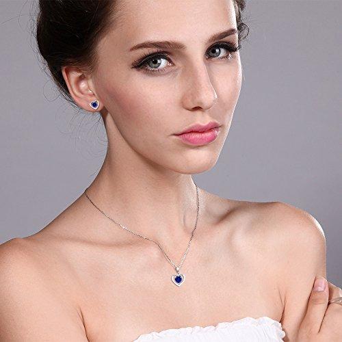 10K White Gold 1.95Ct Heart Blue Simulated Sapphire Diamond Pendant Earrings Set by Gem Stone King (Image #2)
